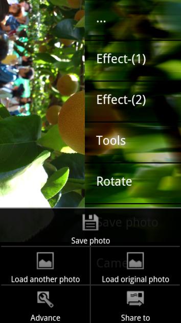 Little Photo:画面右側のタップでエフェクト一覧画面が出現