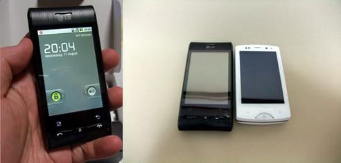 LG GT540(左)と同じ画面サイズながら、Xperia mini pro(右)は更にコンパクト
