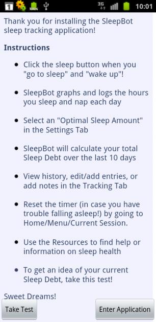 Sleep Bot Tracker Log:instructionsからTake Testをタップするとテストへ移ります