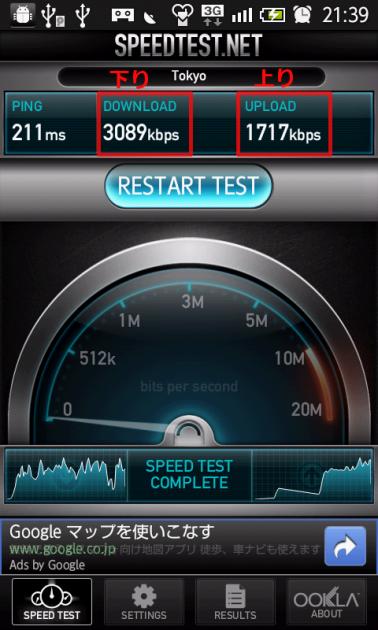 Speedtest.net:測定完了画面