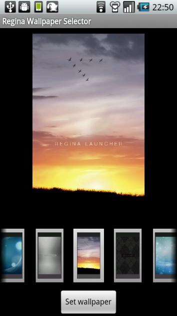 Regina 3D Launcher:『Regina Default Theme』選択時の壁紙設定画面