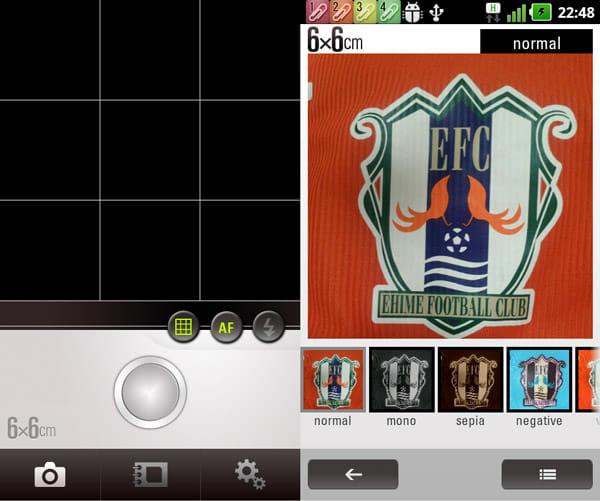 6x6cm:撮影画面。中央の丸いボタンがシャッター(左)写真の下にエフェクトが表示される。左右フリックでエフェクトを選択(右)