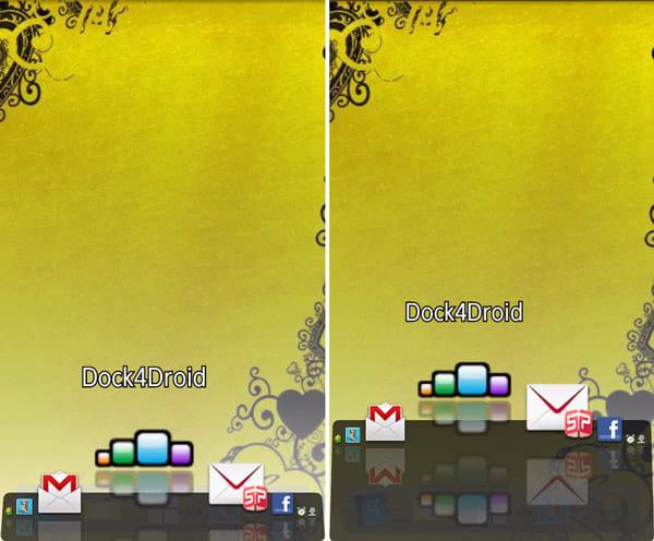 Dock4Droid:Icons offsetで、ドックの幅を変更。「XS」(左)「Large」(右)