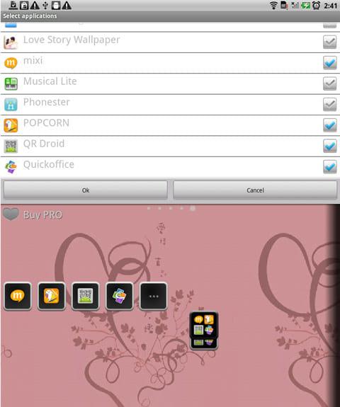 Animated Widget Contact Launch:アプリ選択画面(上)アプリランチャーウィジェット設置画面(下)