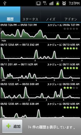 Sleep as Android Unlock:睡眠データをグラフで確認できる