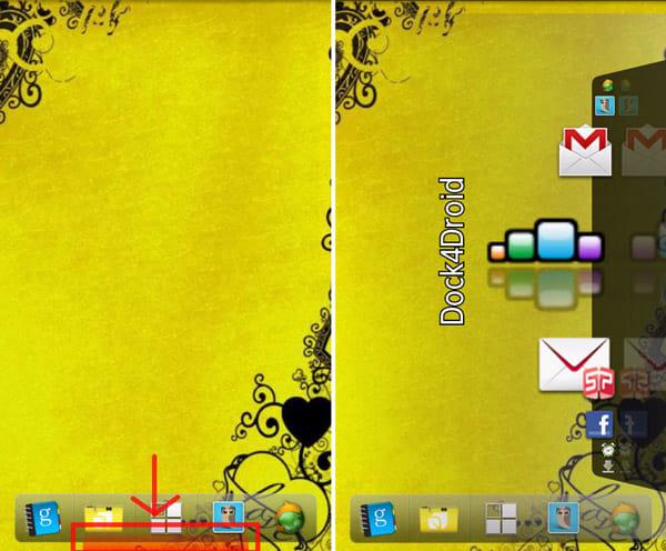 Dock4Droid:タップ領域の表示を変更可能(左)画面右部表示(右)