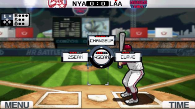 9 Innings: Pro Baseball 2011:投手のプレイ画面。球種とコースを選択する