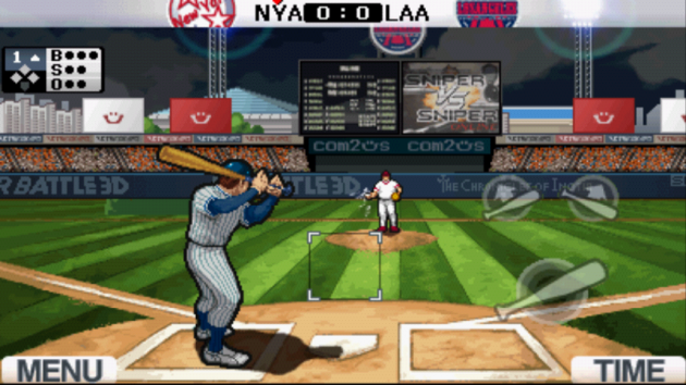 9 Innings: Pro Baseball 2011:打者のプレイ画面。タップのタイミングが重要となる