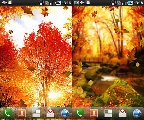 『Autumn Live Wallpaper』:落ち葉舞う美しい景色をLIVE壁紙で堪能できる