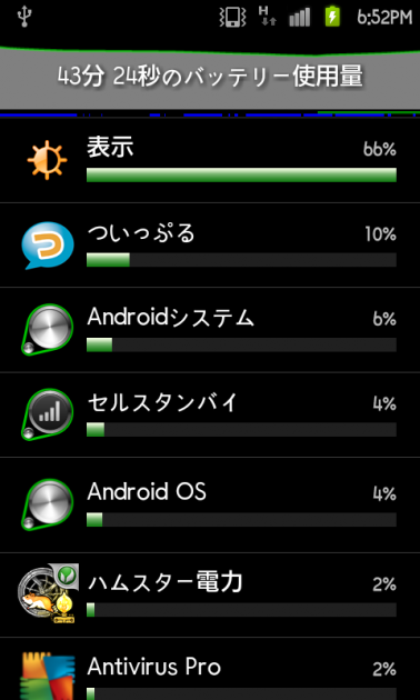 Battery Monitor Widget:使用状態画面