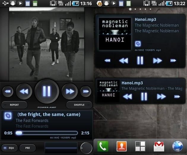 PowerAMP Music Player (Trial):優れた画面デザインが特徴。ウィジェットにも対応している
