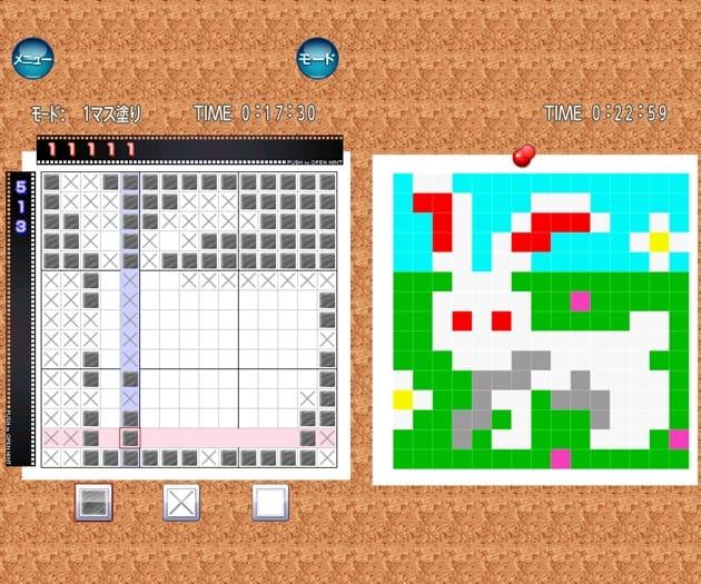いつでもパズル イラロジ Vol.1:数字をヒントにマス目を塗りつぶしていこう(左)全て塗りつぶせば、イラストがあらわれる(右)