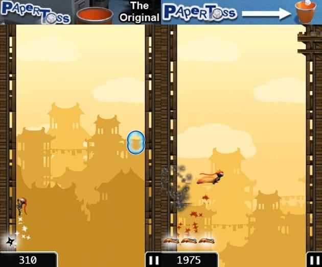 NinJump:敵をジャンプでかわしながら、壁をのぼり続ける。同じ敵を3回続けて倒すとボーナスジャンプができる