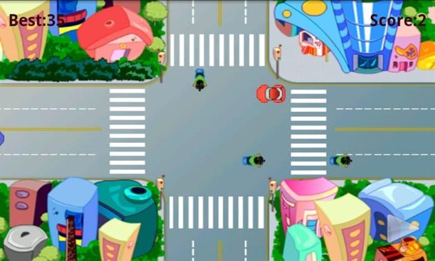 Traffic Rush:車をタップすると一定時間止まり、フリックで加速する