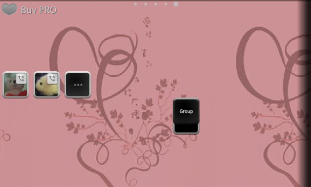 Animated Widget Contact Launch:グループウィジェット設置画面(2名登録)。ウィジェットをタップすると、登録した連絡先のアイコンが表示される