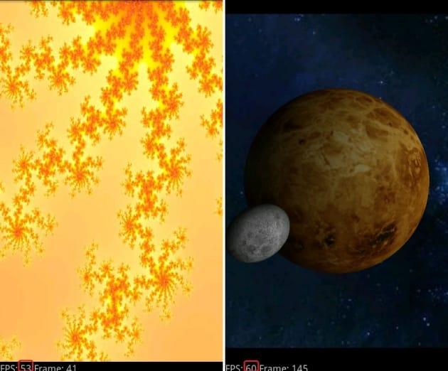 2D描画表示は50FPS越え(左)3D描画は60FPSに近い数値が出た(右)