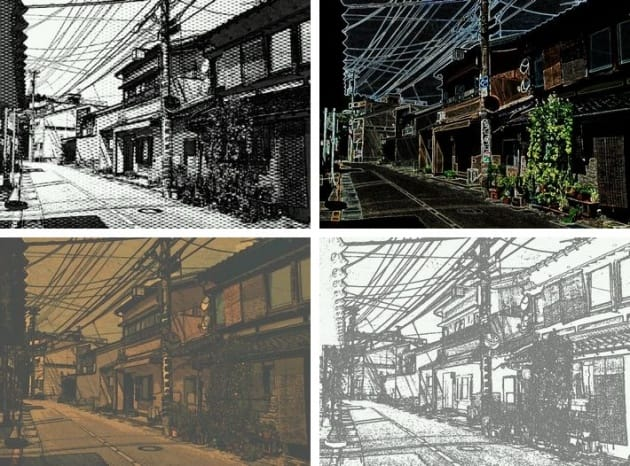Paper Camera - アニメ - 漫画 映画:左上から時計回りに、OLD PRINTER、NEON COLA、CON TOURS、BLEACHING