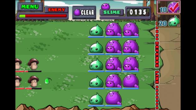 スライム対キノコ(Slime vs. Mushroom):キノコ軍が徐々に侵攻してくる