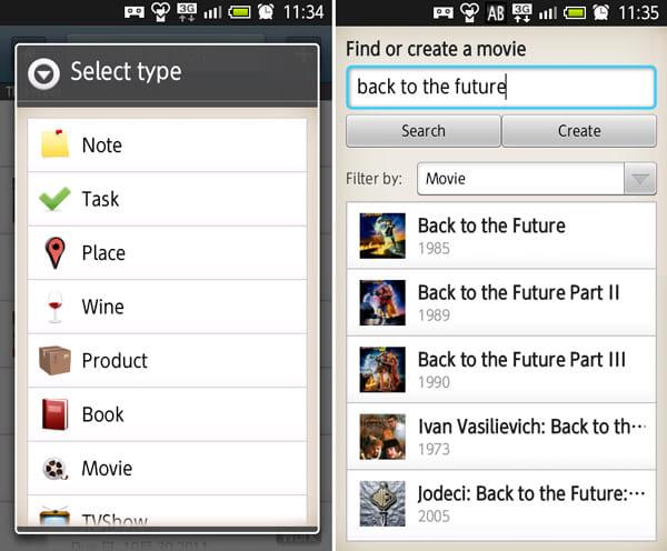 Springpad:メモのタイプを選択(左)「Movie」タイプのメモ。ネットから元ネタを取得(右)