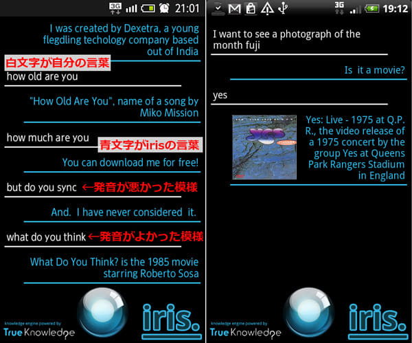 iris. (alpha):会話を続けた様子。サイト検索も可能