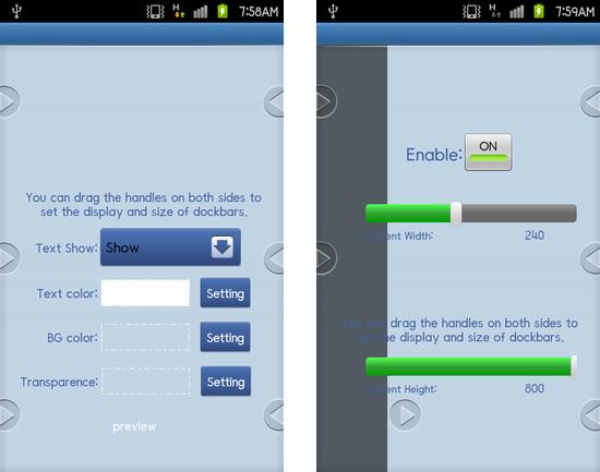 91 Pandahome Pro:設定画面では、左右のドックバーを引き出して設定