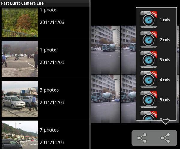 Fast Burst Camera Lite:画像一覧画面(左)コラージュ画面(右)