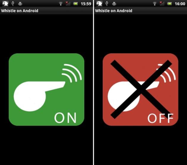 ホイッスル on Android:起動してタップするだけの簡単な操作。再度タップすると止まる