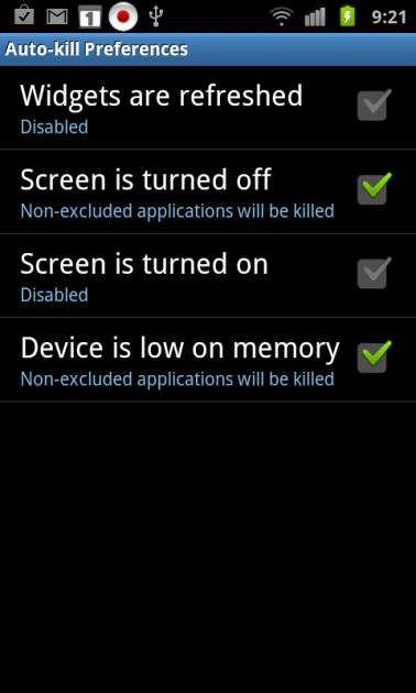 System Tuner:「Auto-kill Preferences」画面