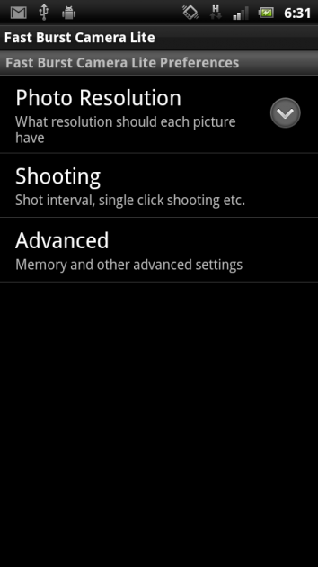 Fast Burst Camera Lite:「Preferences」画面