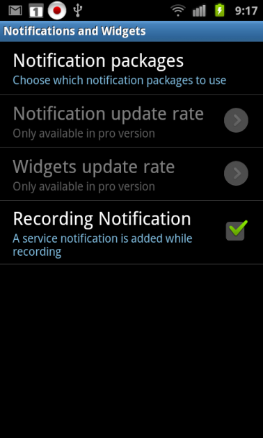 System Tuner:「Notifications and Widgets」画面