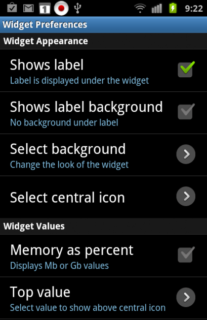 System Tuner:「Widget Preference」画面