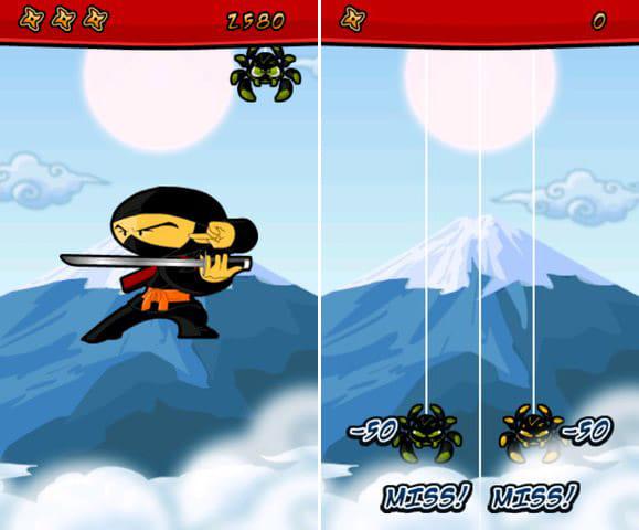 Spider Ninja - Free Game:スコアに応じて忍者(称号)が出現する。(左)クモを画面の上下に逃がすと減点だぞ!(右)