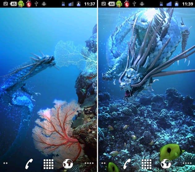 海龍神★Aqua Free:2種類の背景は左右にフリックすることで変化。水中の龍は神秘的です