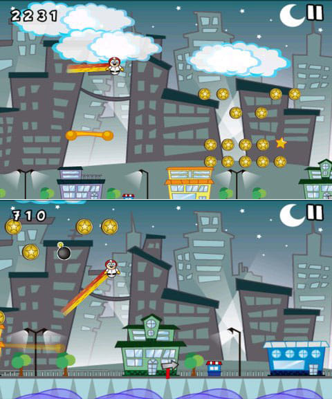 Amazing Jumper GOLD:連続大ジャンプをキメて高い場所もひとっ飛び(上)ミスなく操作すればハイスピード感が味わえる(下)