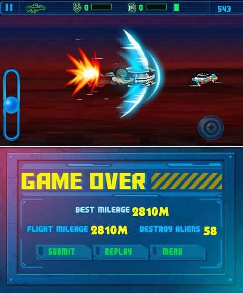 Ultimate Mission (vs Aliens):必殺アイテムで無敵状態にもなれる!(上)ひとまず2800m越えを目指そう。(下)
