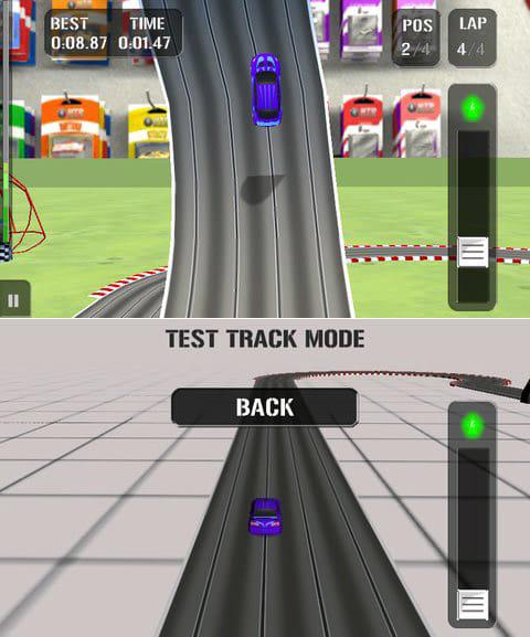 HTR High Tech Racing:垂直1回転ループ。スピードを落とさず走ろう。(上)作成したコースをテスト走行することもできる。(下)