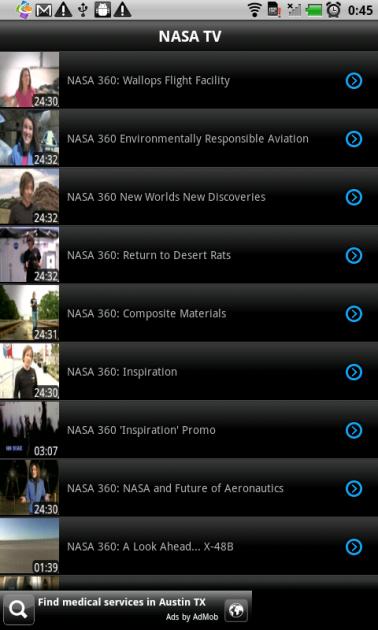 iMediaShare Lite:オンラインチャンネルの「NASA TV」選択画面