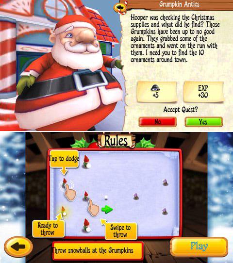 Santa's Village:サンタからのクエストをクリアしよう。(上)ミニゲームも沢山あるぞ!(下)