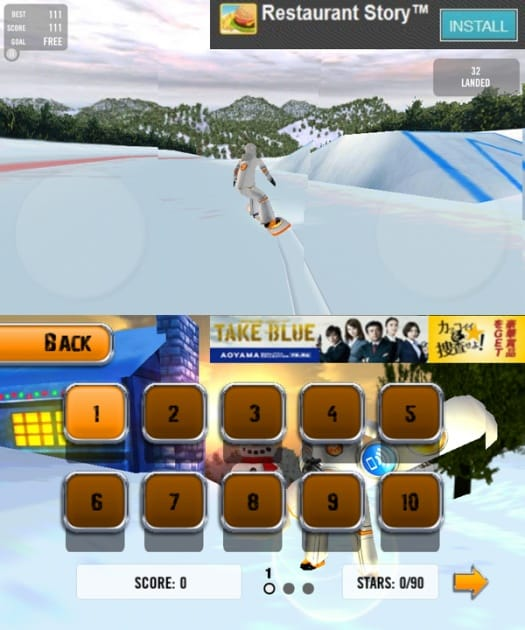 Crazy Snowboard:操作方法は端末を傾け方向を調整。ジャンプ中はゲームパッドでトリックの種類や体の向きを調整するだけでOK!