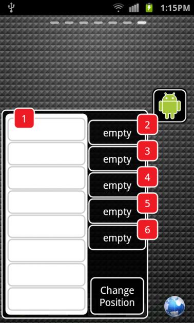 Android Taskbar:アプリ登録前の画面