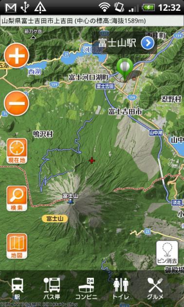 地図マピオン+3D:「3D風」アイコンをタップで、表示切り替えが可能