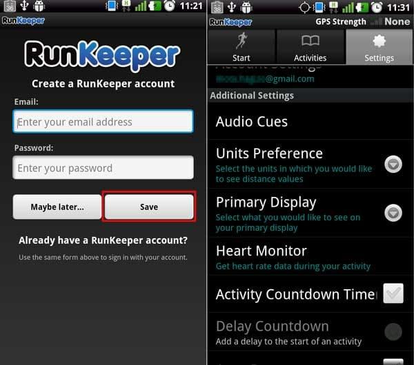 RunKeeper:アカウント作成画面(左)「Settings」画面(右)