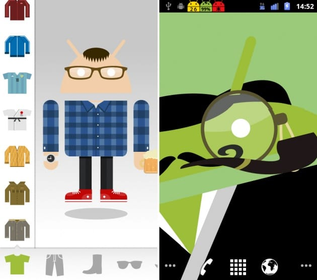 Android メーカー:できあがったドロイド君をライブ壁紙にすることも可能