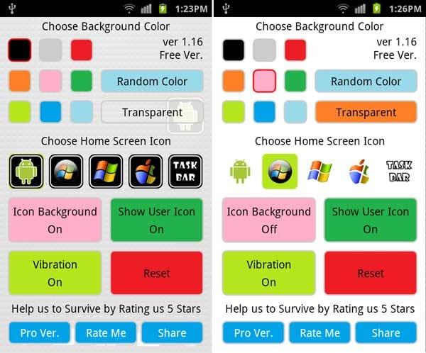 Android Taskbar:「Transparent」の背景設定画面。背景色有(左)背景色透明(右)