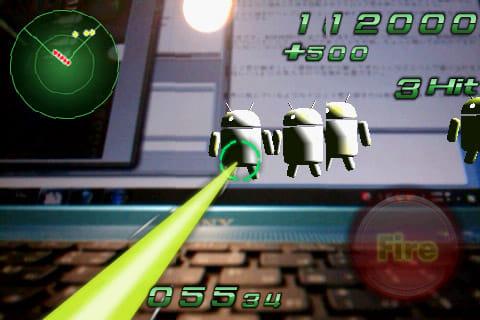 ドロイドシューティング -DroidShooting-:画面右端の「Fire」をタップしてビーム発射!