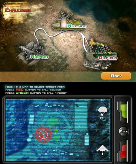 The Last Defender HD:3つのシーンが用意されている。(上)PDA操作。赤いボタンで爆撃。緑で回復アイテム投下。(下)