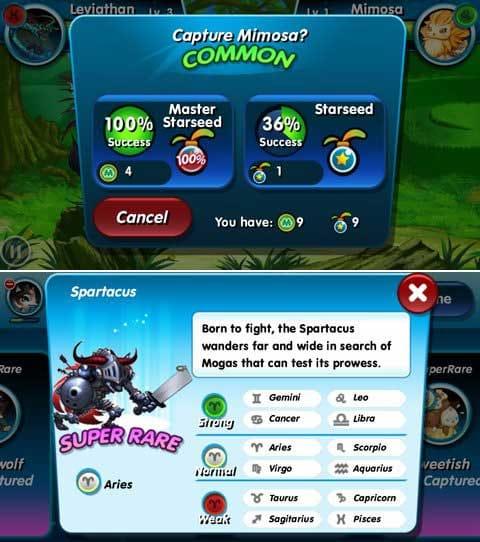 Monster Galaxy:モンスターは弱っている程捕まえやすくなるぞ!(上)モンスターの特性を把握して有利に戦闘を進めよう!(下)