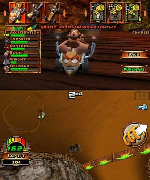 Tiki Kart 3D:「テナガザル」は超Cuteだ!(上)画面が反転しちゃうことも!なんでもありだ!(下)