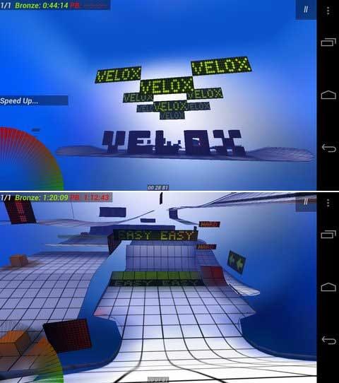 Velox 3D:ジャンプした時の爽快感が素晴らしい!(上)コースが作りこまれています!(下)