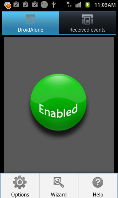 DroidAlone - Missed Calls:アプリを起動中の場合、緑色の「Enabled」が表示される